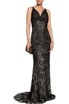 ROBERTO CAVALLI Embellished lace and tulle gown