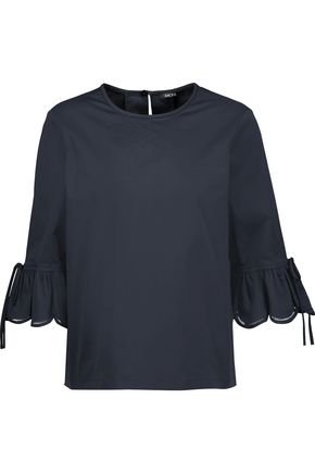 RAOUL Pleated cotton-blend top