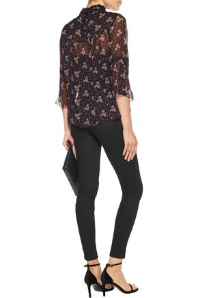 ANNA SUI Wildflower lace-trimmed printed crinkled silk-chiffon top