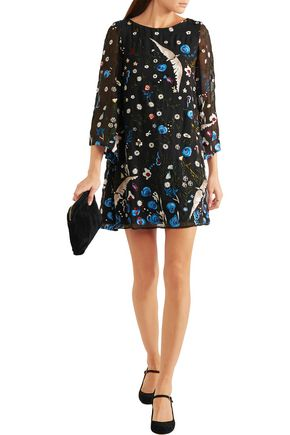 ALICE + OLIVIA Eleonora embroidered chiffon mini dress
