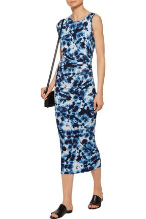 KAIN LABEL Penny ruched tie-dye stretch-jersey dress