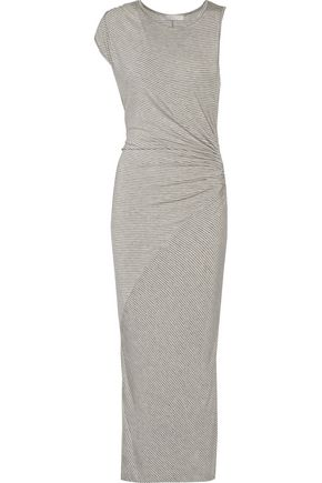 KAIN LABEL Penny ruched striped stretch-jersey midi dress
