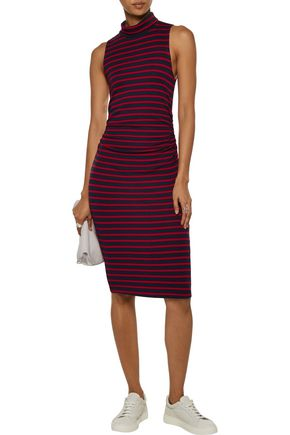 KAIN LABEL Ray ruched striped stretch-jersey turtleneck dress