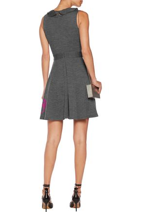 JUST CAVALLI Felt-appliquéd ruffled stretch-jersey mini dress