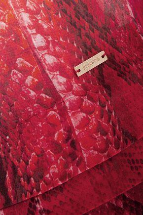 JUST CAVALLI Pleated snake-print voile mini dress