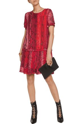 JUST CAVALLI Pleated snake-print voile mini dress