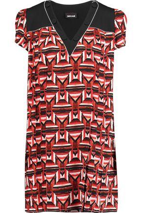 JUST CAVALLI Pleated printed crepe mini dress