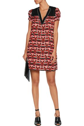JUST CAVALLI Pleated printed crepe mini dress