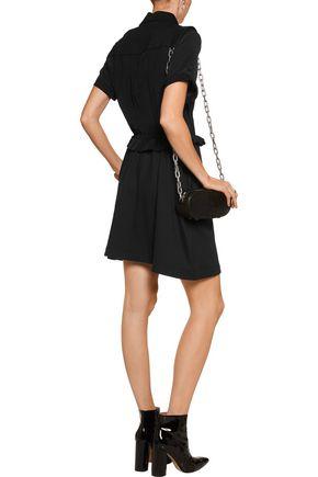JUST CAVALLI Washed silk-paneled ponte mini dress