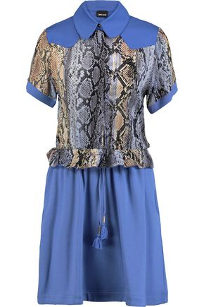 JUST CAVALLI Snake-print chiffon and jersey mini dress