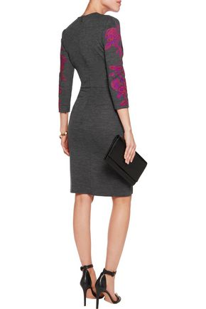 JUST CAVALLI Flocked stretch-jersey wrap-effect dress