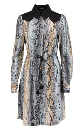 JUST CAVALLI Crepe-paneled printed washed-silk shirt dress