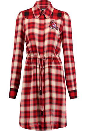 JUST CAVALLI Crepe-paneled appliquéd plaid twill dress