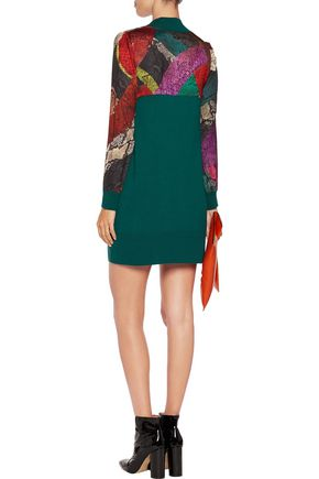 JUST CAVALLI Snake-print satin-paneled wool mini dress