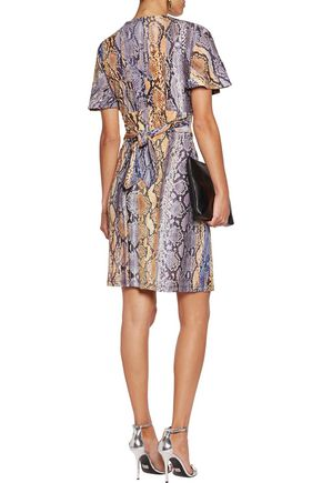JUST CAVALLI Wrap-effect snake-print jersey mini dress
