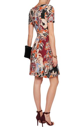 JUST CAVALLI Pleated printed jersey mini dress