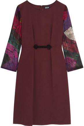 JUST CAVALLI Snake-print chiffon-paneled jersey dress