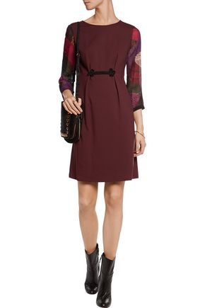 JUST CAVALLI Snake-print chiffon-paneled jersey dress