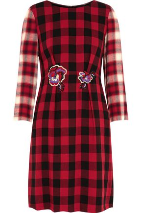 JUST CAVALLI Appliquéd checked wool-crepe dress