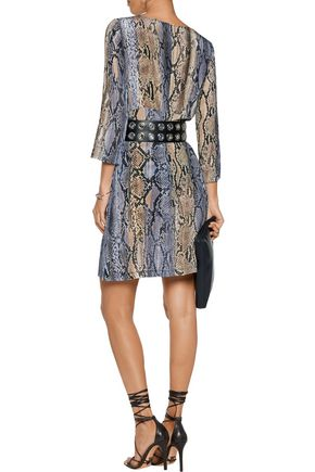 JUST CAVALLI Snake-print silk dress
