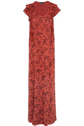 JUST CAVALLI Ruffle-trimmed intarsia-knit maxi dress