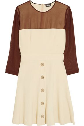 JUST CAVALLI Chiffon-paneled crepe mini dress