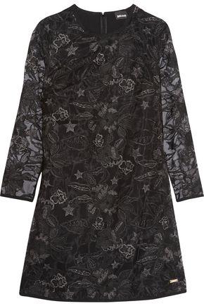 JUST CAVALLI Metallic embroidered organza mini dress