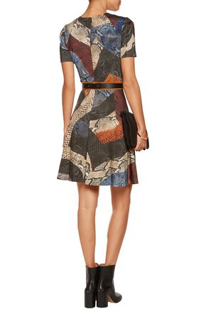 JUST CAVALLI Printed stretch-knit mini dress