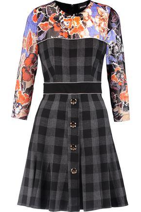 JUST CAVALLI Printed chiffon-trimmed crepe mini dress