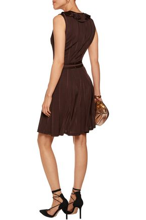 JUST CAVALLI Ruffled ribbed stretch-knit mini dress