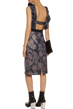 JUST CAVALLI Cutout floral-print faux leather midi dress
