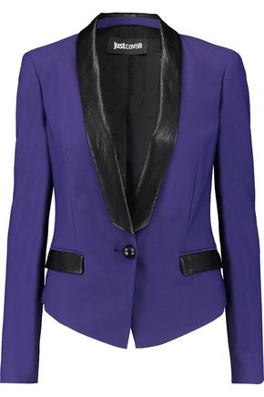 JUST CAVALLI Faux leather-trimmed twill blazer