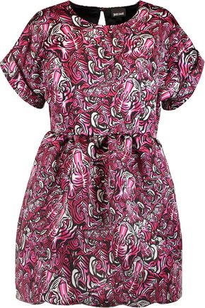 JUST CAVALLI Pleated printed satin-twill mini dress