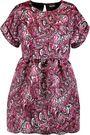 JUST CAVALLI Pleated printed satin-twill mini dress