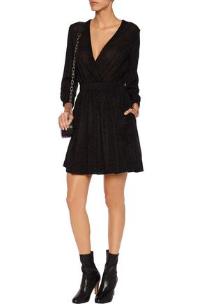 JUST CAVALLI Wrap-effect metallic jersey mini dress