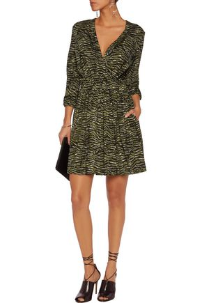 JUST CAVALLI Pleated zebra-print stretch-jersey mini dress