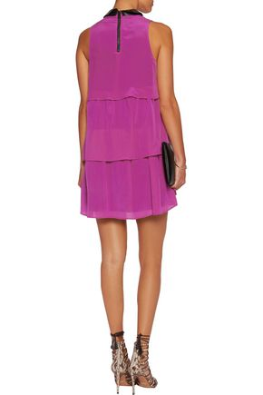 JUST CAVALLI Tiered washed-silk mini dress