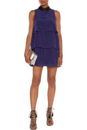 JUST CAVALLI Tiered washed-silk mini dress