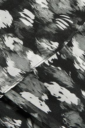 JUST CAVALLI Faux leather-trimmed layered printed silk-chiffon mini dress