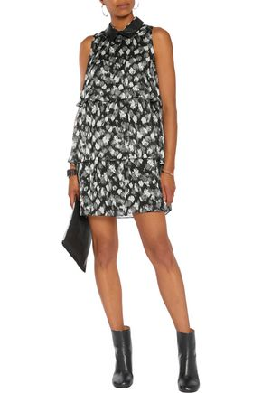 JUST CAVALLI Faux leather-trimmed layered printed silk-chiffon mini dress