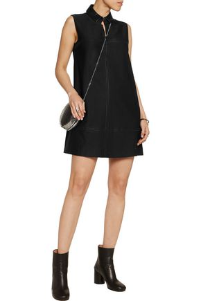 JUST CAVALLI Faux leather-trimmed studded twill mini dress