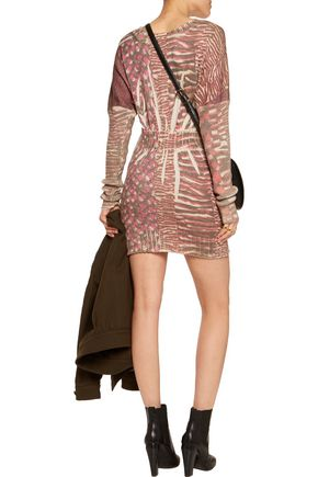 JUST CAVALLI Printed wool-blend mini dress