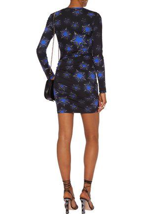 JUST CAVALLI Ruched printed stretch-jersey mini dress