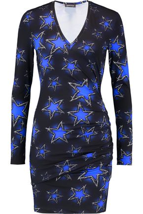 JUST CAVALLI Ruched printed stretch-jersey mini dress