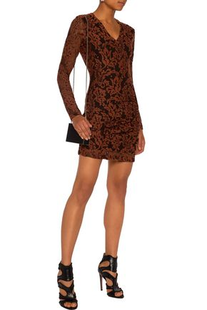 JUST CAVALLI Gathered stretch-lace mini dress