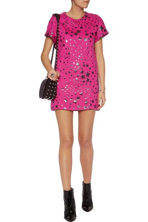 JUST CAVALLI Printed cotton mini dress