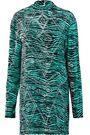 JUST CAVALLI Studded zebra-print felt mini dress