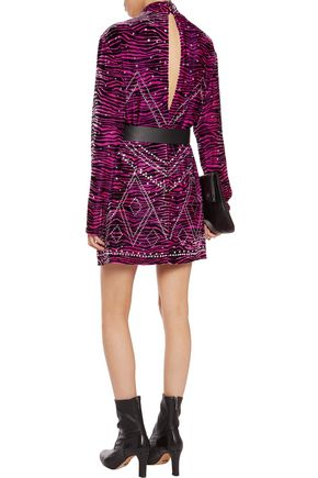 JUST CAVALLI Studded zebra-print felt mini dress