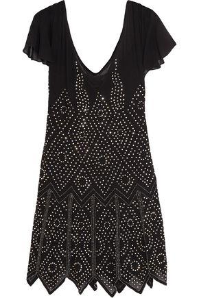 JUST CAVALLI Crystal-embellished chiffon mini dress