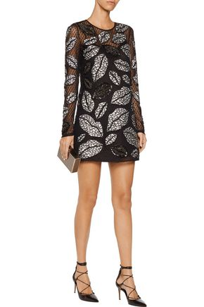 JUST CAVALLI Embellished Swiss-dot tulle mini dress